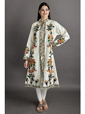 Star-White Long Kashmiri Silk Jacket with Ari-Embroidered Multicolor Flowers