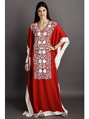 True-Red Woolen Kaftan from Kashmir With Ari Embroidered White Flowers