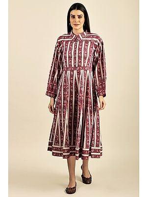 """Fuchsia"" feminine and bold - A rare piece of hand-block printed formal dress"