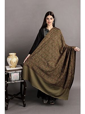 Tusha Shawl from Kashmir with Sozni Hand-Embroidered Floral Vines and Paisleys