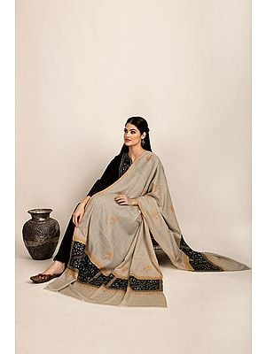 French-Oak Handloom Pure Pashmina Shawl from Kashmir with Sozni-Embroidery by Hand