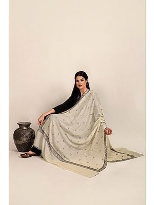 Cannoli-Cream Handloom Pure Pashmina Shawl from Kashmir with Sozni-Embroidery by Hand