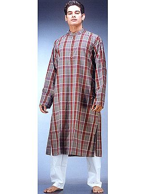 Kurta Pajama Set with Large Multi-Color Checks