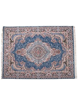 Misty Lilac Handloom Carpet from Bhadohi with Persian Motifs All-Over