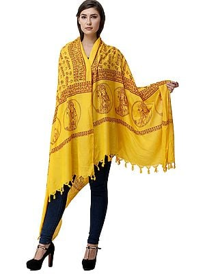 Lemon-Chrome Sri Sita Ram Prayer Shawl