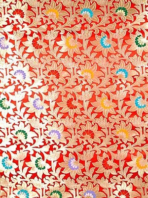 Red Floral Brocade Fabric Hand-woven in Banaras