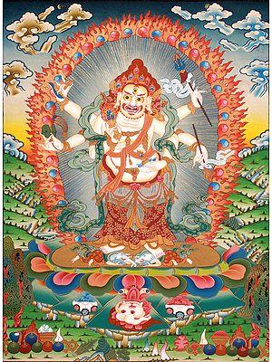 Fine Quality White Mahakala - Tibetan Buddhist Deity of Wealth and Prosperity