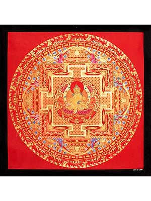 Superfine Kubera Mandala (Tibetan Buddhist Thangka Painting Without Brocade)