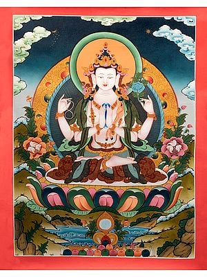 Superfine  Thangka of Tibetan Buddhist Chenrezig (Four Armed Avalokiteshvara) Without Brocade