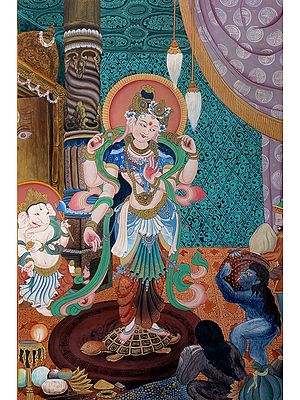 Nepalese Form of Devi Lakshmi, Daughter Of The Oceans (Brocadeless Thangka)