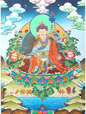 Tibetan Buddhist Guru Padmasambhava (Rin Poche) - Brocadeless Thangka