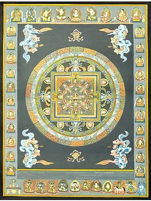 The Buddha Mandala -Tibetan Buddhist Brocadeless Thangka