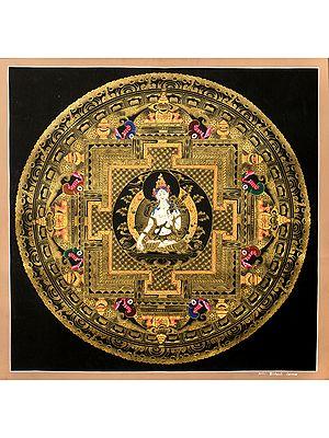 Superfine Mandala of Goddess White Tara - Tibetan Buddhist Brocadeless Thangka