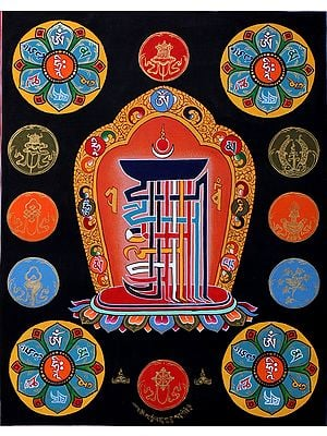 The Ten Syllables of Tibetan Buddhist Kalachakra Mantra - Thangka Without Brocade