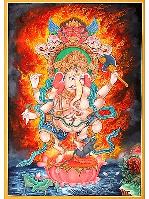 Newari Styled Four Armed Dancing Ganesha -   Brocadeless Thangka