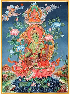 Superfine Tibetan Buddhist Deity Green Tara - Brocadeless Thangka