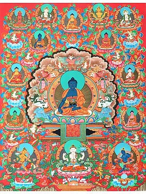 Superfine Medicine Buddha On The Six-Ornament Throne of Enlightenment in His Universe - Tibetan Buddhist Brocadeless Thangka