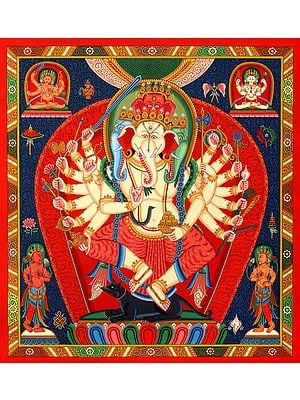 Dancing Ganesha, Four-headed, Eighteen-armed, Captured In Vivid Red In Brocadeless Newari-style Thangka