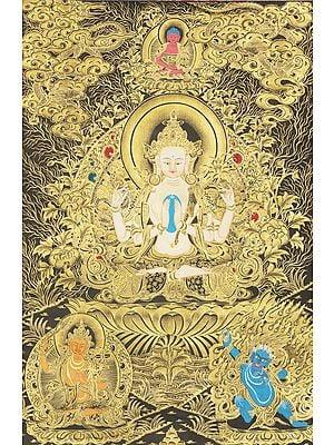 Four-Armed Avalokiteshvara (Chenrezig) - Tibetan Buddhist