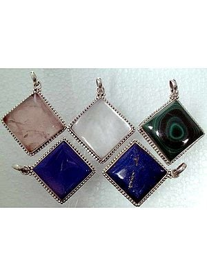 Lot of Five Rhombus Pendants (Lapis, Shell, Rose Quartz, Chalcedony and Malachite)