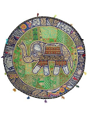 Royal-Blue Hand-Crafted Elephant Wall Hanging from Gujarat with Upcycled Embroidery Patchwork