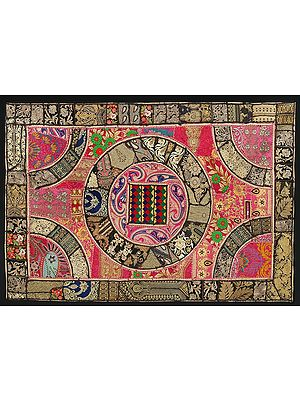 Coral-Black Hand-Crafted Mandala Wall Hanging from Gujarat with Upcycled Embroidery Patchwork