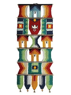 Tropical-Rainbow Cotton Handmade Wall-Hanging with Brass Bells from Maharashtra