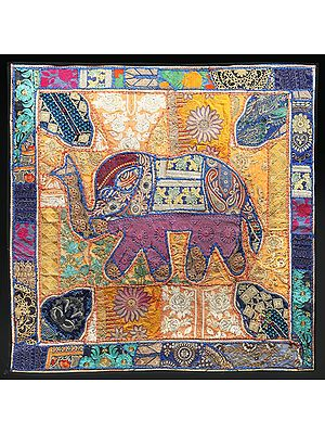Lapis-Blue Hand-Crafted Elephant Wall Hanging from Gujarat with Upcycled Embroidery Patchwork