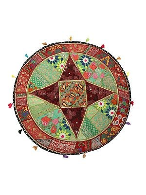 Jade-Green Hand-Crafted Round Wall Hanging from Gujarat with Upcycled Embroidery Patchwork