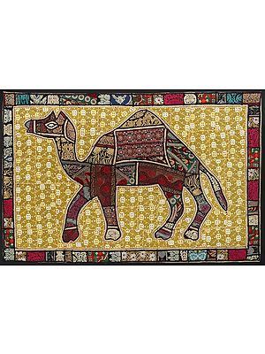 Warm-Sand Hand-Crafted Camel Wall Hanging from Gujarat with Upcycled Embroidery Patchwork