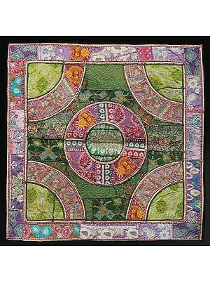 Blush-Pink Hand-Crafted Mandala Wall Hanging from Gujarat with Upcycled Embroidery Patchwork