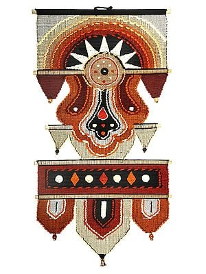 Sunset Cotton Handmade Wall-Hanging with Wooden Beads and Brass Bells from Maharashtra