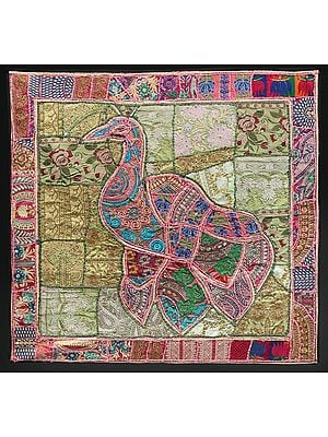Peach-Blossom Hand-Crafted Peacock Wall Hanging from Gujarat with Upcycled Embroidery Patchwork