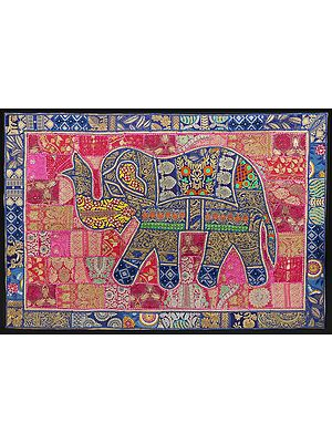 Victoria-Blue Hand-Crafted Elephant Wall Hanging from Gujarat with Upcycled Embroidery Patchwork