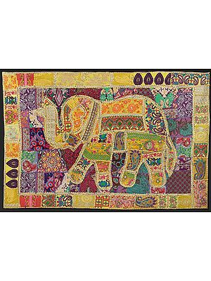 Spectra-Yellow Hand-Crafted Elephant Wall Hanging from Gujarat with Upcycled Embroidery Patchwork