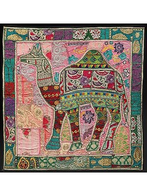 Vineyard-Green Hand-Crafted Camel Wall Hanging from Gujarat with Upcycled Embroidery Patchwork