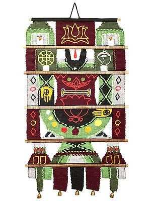Maroon and Green Cotton Handmade Balaji Wall-Hanging with Wooden Beads and Brass Bells from Maharashtra