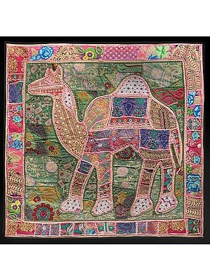 Prism-Pink Hand-Crafted Camel Wall Hanging from Gujarat with Upcycled Embroidery Patchwork