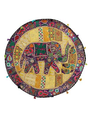 Old-Gold Hand-Crafted Elephant Round Wall Hanging from Gujarat with Upcycled Embroidery Patchwork