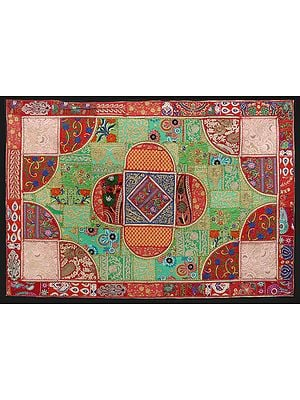 Rococco-Red Hand-Crafted Geometric Wall Hanging from Gujarat with Upcycled Embroidery Patchwork