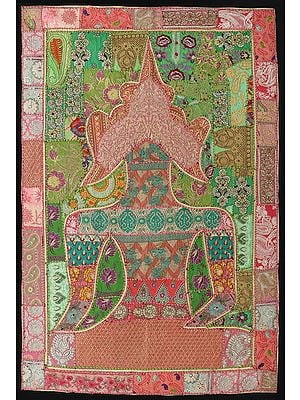 Conch-Shell Hand-Crafted Meditating Buddha Wall Hanging from Gujarat with Upcycled Embroidery Patchwork