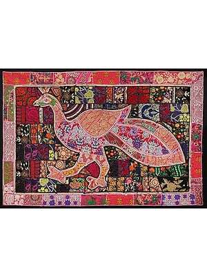 Black-Pink Hand-Crafted Peacock Wall Hanging from Gujarat with Upcycled Embroidery Patchwork