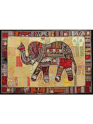 Mimosa Yellow Hand-Crafted Elephant Wall Hanging from Gujarat with Upcycled Embroidery Patchwork