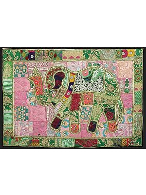 Meadow-Green Hand-Crafted Elephant Wall Hanging from Gujarat with Upcycled Embroidery Patchwork