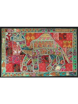 Sage-Green Hand-Crafted Camel Wall Hanging from Gujarat with Upcycled Embroidery Patchwork