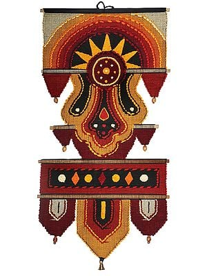 Flame-Scarlet Cotton Handmade Wall-Hanging with Wooden Beads and Brass Bells from Maharashtra