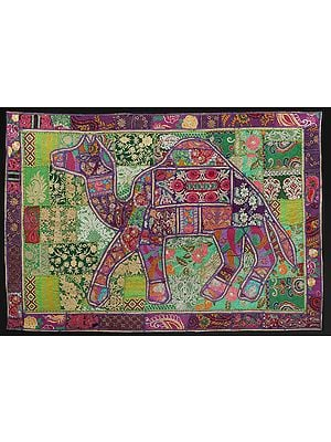 Sparkling-Grape Hand-Crafted Camel Wall Hanging from Gujarat with Upcycled Embroidery Patchwork