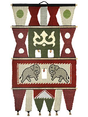String-Gray Cotton Handmade Elephant Wall-Hanging with Wooden Beads and Brass Bells from Maharashtra