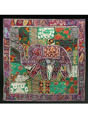 Hyacinth-Violet Hand-Crafted Elephant Wall Hanging from Gujarat with Upcycled Embroidery Patchwork