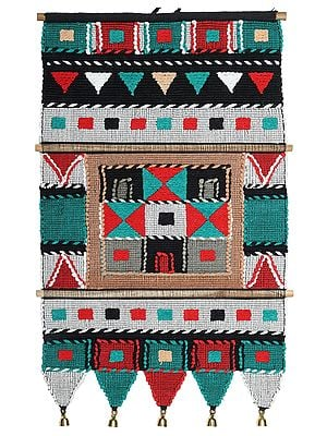Blue-Grass Multicolored Cotton Handmade Wall-Hanging with Wooden Beads and Brass Bells from Maharashtra